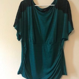 💙EUC!💙 Alyx Emerald Green Lace Ruched Blouse